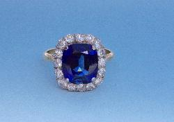 Large Sapphire And Diamond  Cluster Engagement Ring