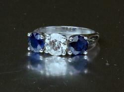 Large Sapphire And Diamond Three Stone Engagement Ring