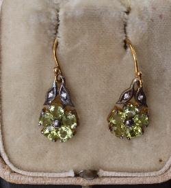 Peridot And Diamond Pretty Earrings