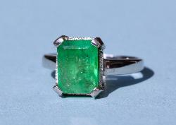 Platinum And Emerald-cut Emerald Solitaire Ring