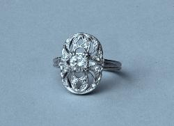 Platinum Diamond Art Deco Engagement Ring