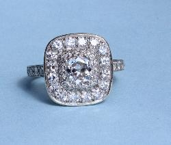 Platinum French Belle Epoque Diamond Engagement Ring