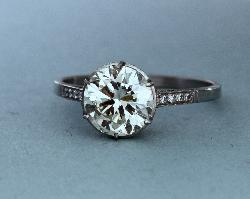 Platinum Old-cut Solitaire Diamond Engagement Ring