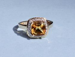 Pretty Citrine And Diamond Ring