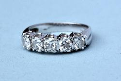 Quality Vintage Five Stone Diamond Engagement Ring