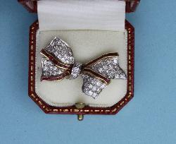 Ruby And Diamond Ribbon Tied Bow Brooch