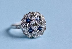 Sapphire And Diamond Cluster Engagement Ring