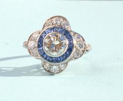 Sapphire And Diamond Engagement Ring  Retro