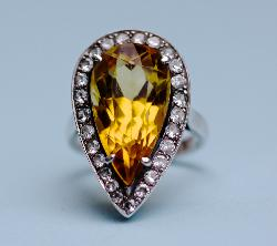 Silver And Citrine Vintage Ring
