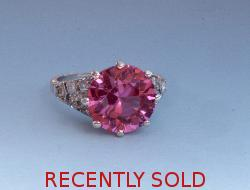 Platinum Pink Stone And Diamond Set Ring 1940s