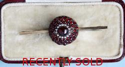 19th Century Garnet And Seed Pearl Brooch