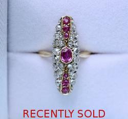 Antique Ruby And Diamond Marquise Engagement Ring