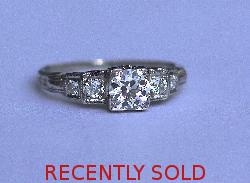 Art Deco Diamond Solitaire Engagement Ring Stunning