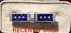 Art Deco Fabulous Sapphire And Diamond Brooch