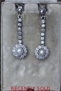 Beautiful Antique Diamond And Pearl Earrings
