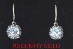 Beautiful Antique Old Cushion-cut Diamond Earrings