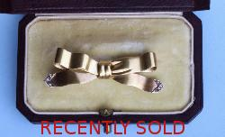 Charming French Gold And Diamond Bow Brooch