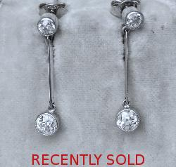 Edwardian Beautiful Two Stone Diamond Earrings