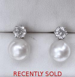 Fine Quality Diamond And Pearl Earrings