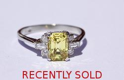 Fine Quality Yellow Sapphire And Diamond Engagement Ring