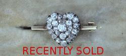 Gorgeous Antique Diamond Heart Brooch