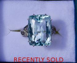 Huge Aquamarine And Diamond Vintage Ring