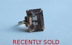 Large Smokey Topaz Dress Ring Vintage