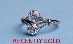 Platinum 1920s Twin Diamond Engagement Ring