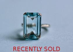 Retro Aquamarine Single Stone Cocktail Ring