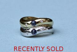 Sapphire And Diamond Twin Band Ring