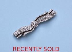 Stunning Diamond Art Deco Bow Brooch