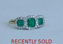 Stunning Edwardian Emerald And Diamond Engagement Ring
