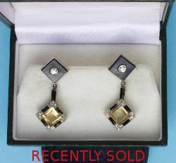 Stylish Art Deco Diamond Citrine And  Onyx Earrings
