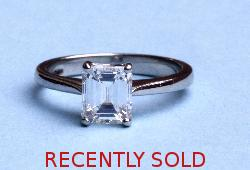 Superb Emerald Cut Diamond Engagement Ring F Colour
