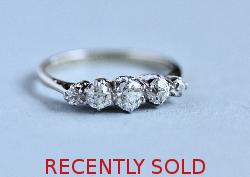 Vintage Pretty Diamond Five Stone Engagement Ring