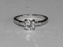 Solitaire Diamond Engagement Ring Baguette Shoulders