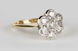 Sparkling Diamond Daisy Cluster Engagement Ring