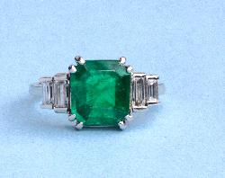 Stunning Art Deco Emerald And Diamond Engagement Ring