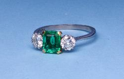 Stunning Columbian Emerald And Diamond Engagement Ring