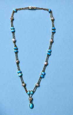 Stylish Edwardian Turquoise And Blister Pearl Necklace