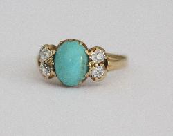 Turquoise And Diamond Victorian Ring