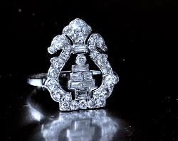 Unusual Art Deco  Diamond Plaque Ring