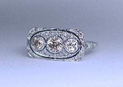Unusual Three Stone Diamond Engagement Ring