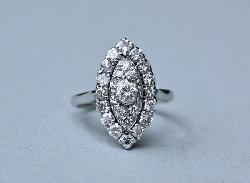 Vintage Diamond Marquise Engagement Ring