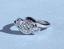 Vintage Diamond Three Stone Engagement Ring