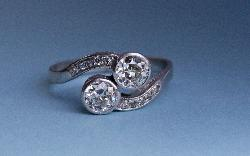 Vintage Twin Diamond Engagement Ring