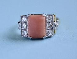 Wonderful Coral And Diamond Ring