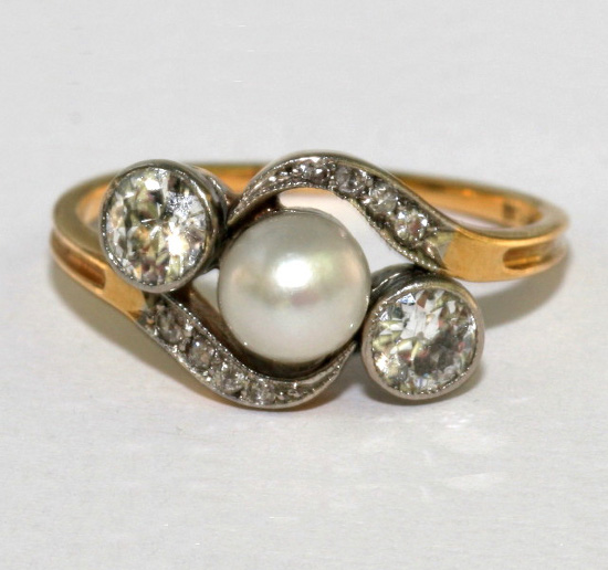 Diamond And Pearl Engagement Rings: Victorian Pearl And Diamond Twist Engagement Ring